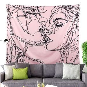 Pink Love Kissing Aesthetic Wall Hanging tapestry